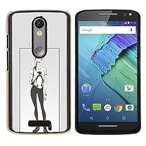 LECELL--Funda protectora / Cubierta / Piel For Motorola MOTO X3 3rd -- Pingüino Cartel Chica Mujer Moda --