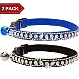 PUPTECK 2 Pcs Cat Collar with Bell - Breakaway & Adjustable - Bling Diamante Charm - Black & Blue