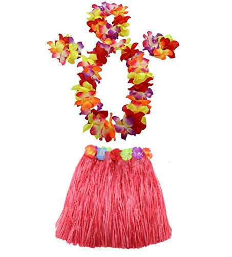 AniiKiss 1 Set 40cm Kids Party Hawaii Dress Hula Grass Skirt - Double Layer Thickened Hawaii Skirt (Red) ()