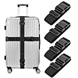 Binew Luggage Straps, 4 Pack Heavy Duty Non-Slip Adjustable Bag Bungee Travel Accessories Suitcase Baggage Belts
