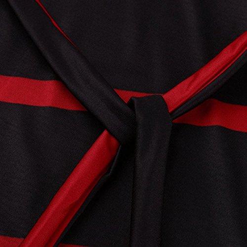 Elegante y 2018 Vestidos Fiesta Verano de Rojo Patchwork EUZeo para Vestido Rayas Corta Noche Vestidos Vestido Corto Mujer Mini Manga Fiesta Mujer Traje Sexy 7xnwPv1q