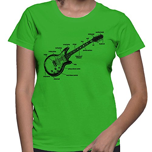 Women's Anatomy of A Guitar T-Shirt (Kelly, Small) -