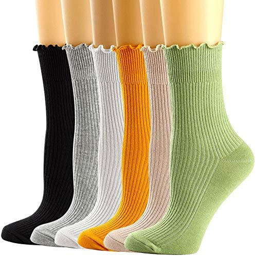 Womens Ankle Casual Socks Lace Ruffle Low Cut Knit Cotton Lettuce Socks for Women Girls