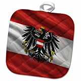 3dRose Carsten Reisinger - Illustrations - Flag of Austria waving in the wind - 8x8 Potholder (phl_180277_1)