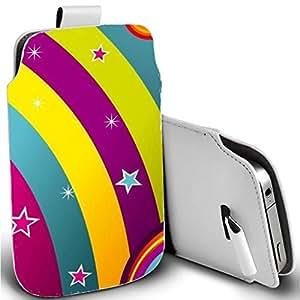 Pull Tab funda de piel sintética para Apple Iphone 6PLUS 6S PLUS–rainbow estrellas