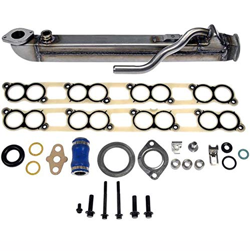 Egr Cooler - APDTY 015373 EGR Cooler Kit With Gaskets (Upgraded Stainless Straight Tube Design) For 2004-2010 Ford 6.0L Diesel (F250, F350, F450, F550, F650, F750)( 4C3Z9P456AJ)