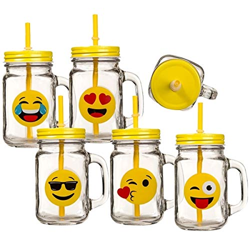 A vintage cup emoji mug glass pattern emoticon lid straw laughing at tears]()