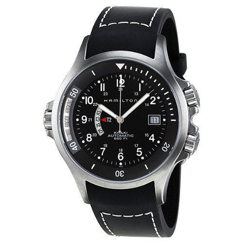 Hamilton Khaki Navy Black Dial GMT Mens Watch (Khaki Navy Gmt Watch)