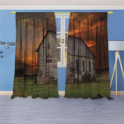 - NineHuiTechnology Blackout Curtains Western,South Dakota United States Room Darkening Wide Curtains W96 x L72(245cm x 183cm)