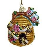 Glass Glittered Beehive Ornament