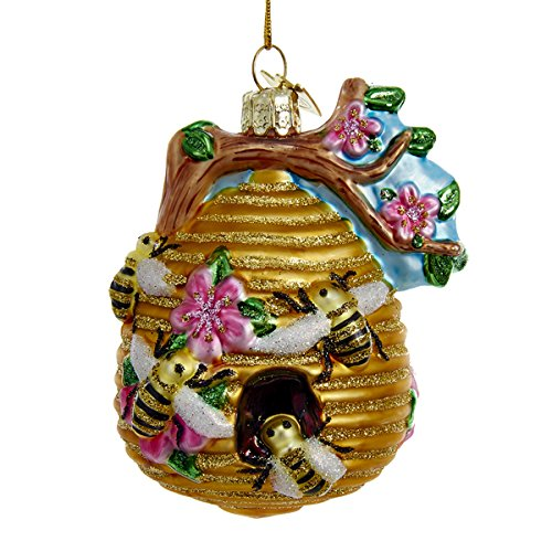 Glass Glittered Beehive Ornament, great bee ornaments for christmas