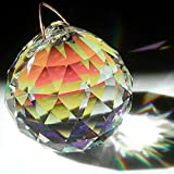 Saint Mossi 40mm Clear Crystal Ball Prism Faceted Hanging Pendant Suncatcher for Feng Shui / Divination or Wedding/Home/Office Decoration (4-Pack)