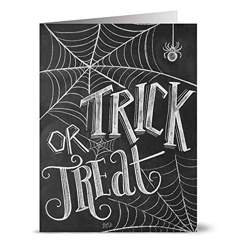 24 Chalkboard Note Cards - Trick or Treat - Blank Cards - Kraft Envelopes Included