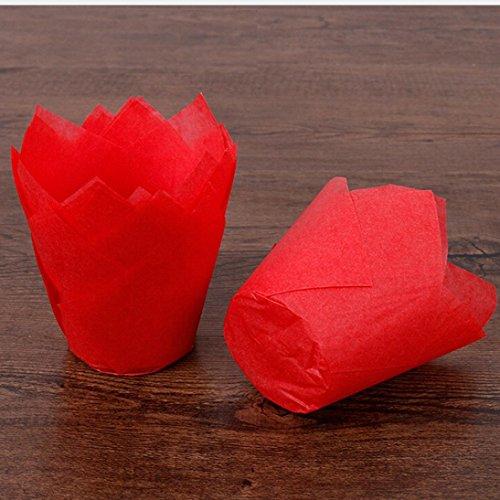 (DZT1968 50pc Cake Multi Bakeware Tulip Chocolate Cupcake Baking Muffin wedding christmas 15x5cm (Red))