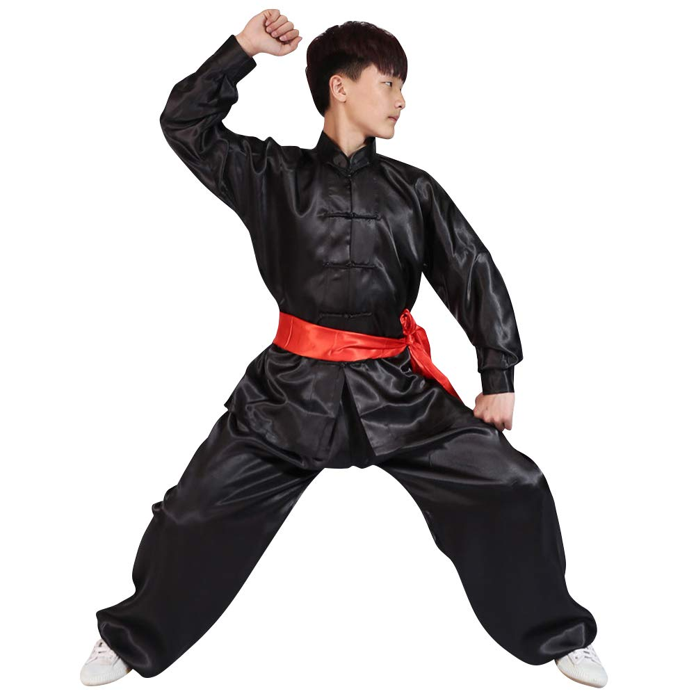 uirend Martial Arts Unisex Adult Kids Sets Performances Kung Fu Tai Chi Clothes Black by uirend