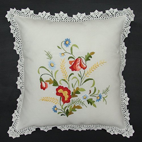 Handmade Cushion Cover, Throw Pillow Case, Square Pillow Cover, Hand Embroidered Flower 18 Square