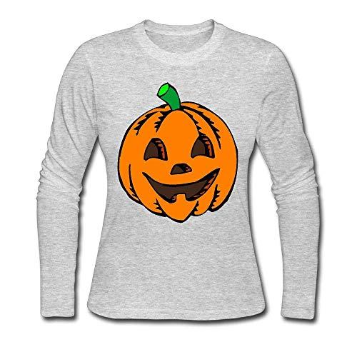 Women's Pumpkin Clipart Halloween ComfortSoft Long-Sleeve T-Shirt Cotton Tee -
