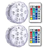 Underwater Submersible LED Lights Anmete Waterproof Battery Operated Remote Control Tea lights for Hot Tub Pond Pool Fountain Fish Tank Waterfall Aquarium Vase Base Wedding Party Christmas 2 PCS
