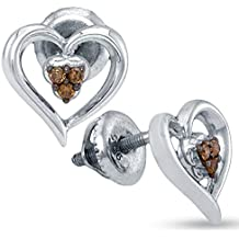 925 Sterling Silver Heart Shape Stud Prong Chocolate Brown Diamond Earrings (.07 cttw.)