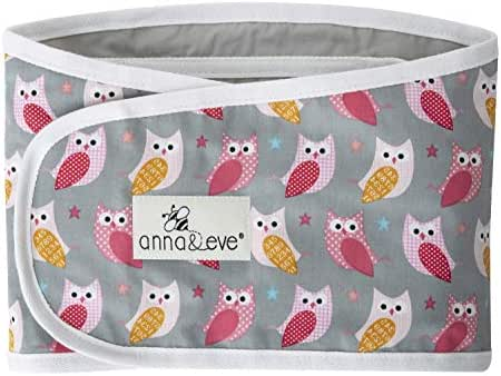 Anna & Eve - Baby Swaddle Strap, Adjustable Arms Only Wrap for Safe Sleeping - Large Size Fits Chest 16 to 20.5, Owls Grey/Pink