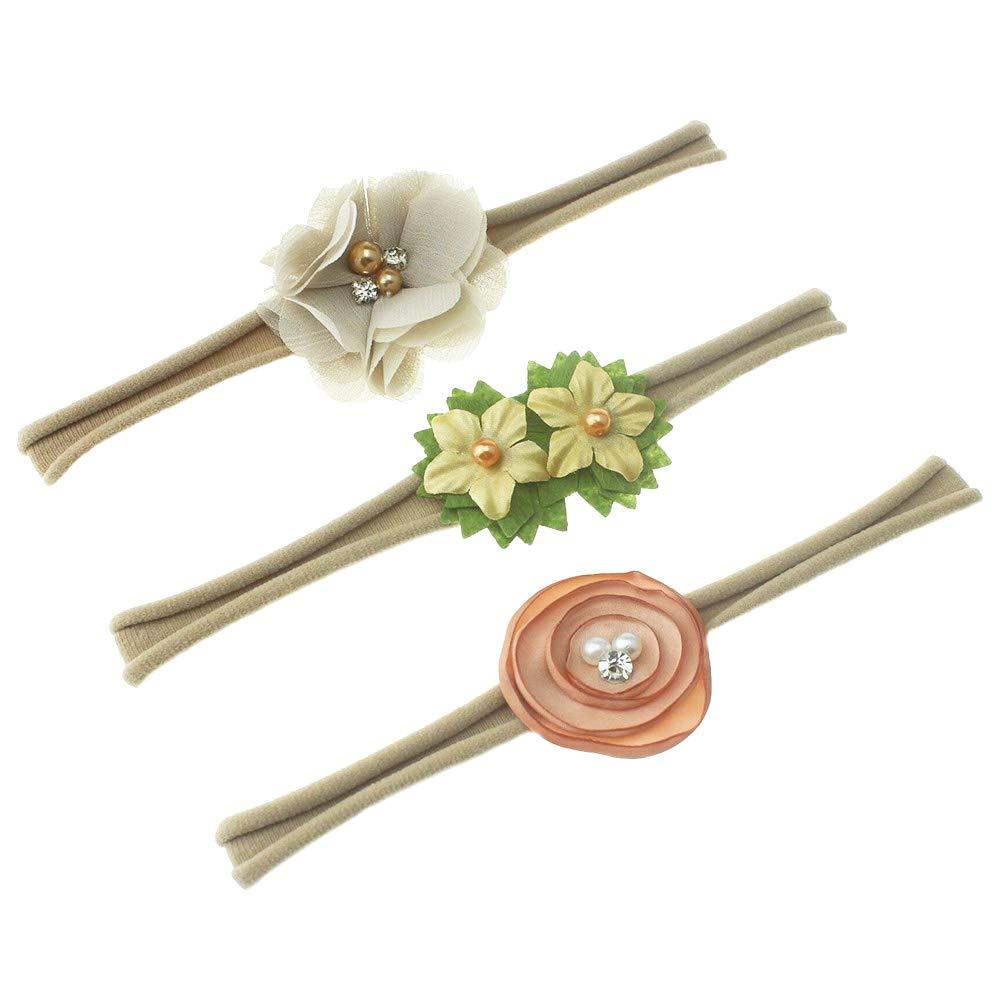 Baby Girl Nylon Headband / Floral Hair Band - Gentle Elastic Design Set of 3(Ivory)