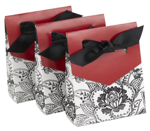 Hortense B. Hewitt Wedding Accessories 3-Inch Black and Merlot Red Floral Print Tent Favor Boxes, 25 Count
