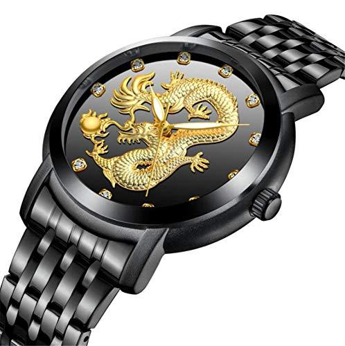 Reloj Personalidad Ocio decoración Moda cinturón Taladro Correa de Acero Moda Hombre dragón Afortunado Impermeable, Negro: Amazon.es: Relojes