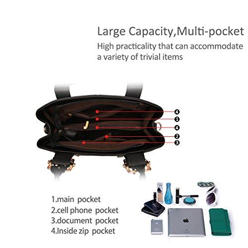 NICOLE&DORIS nuevo bolso de la manera bolso de hombro portable del monedero de la bolsa de mensajero ocasional para las señoras(Red wine) Gris