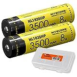 Nitecore NL1835HP 3500mAh 18650 High Performance Li-ion Rechargeable Battery x 2 with LumenTac