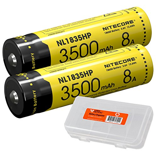 Nitecore NL1835HP 3500mAh 18650 High Performance Li-ion Rechargeable Batteries (Pair) for High Drain Flashlights Like EC23, HC33, MH12GTS, Fury with LumenTac Battery Organizer