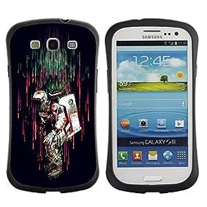 Hybrid Anti-Shock Bumper Case for Samsung Galaxy S3 / Colorful Astronaut In rain