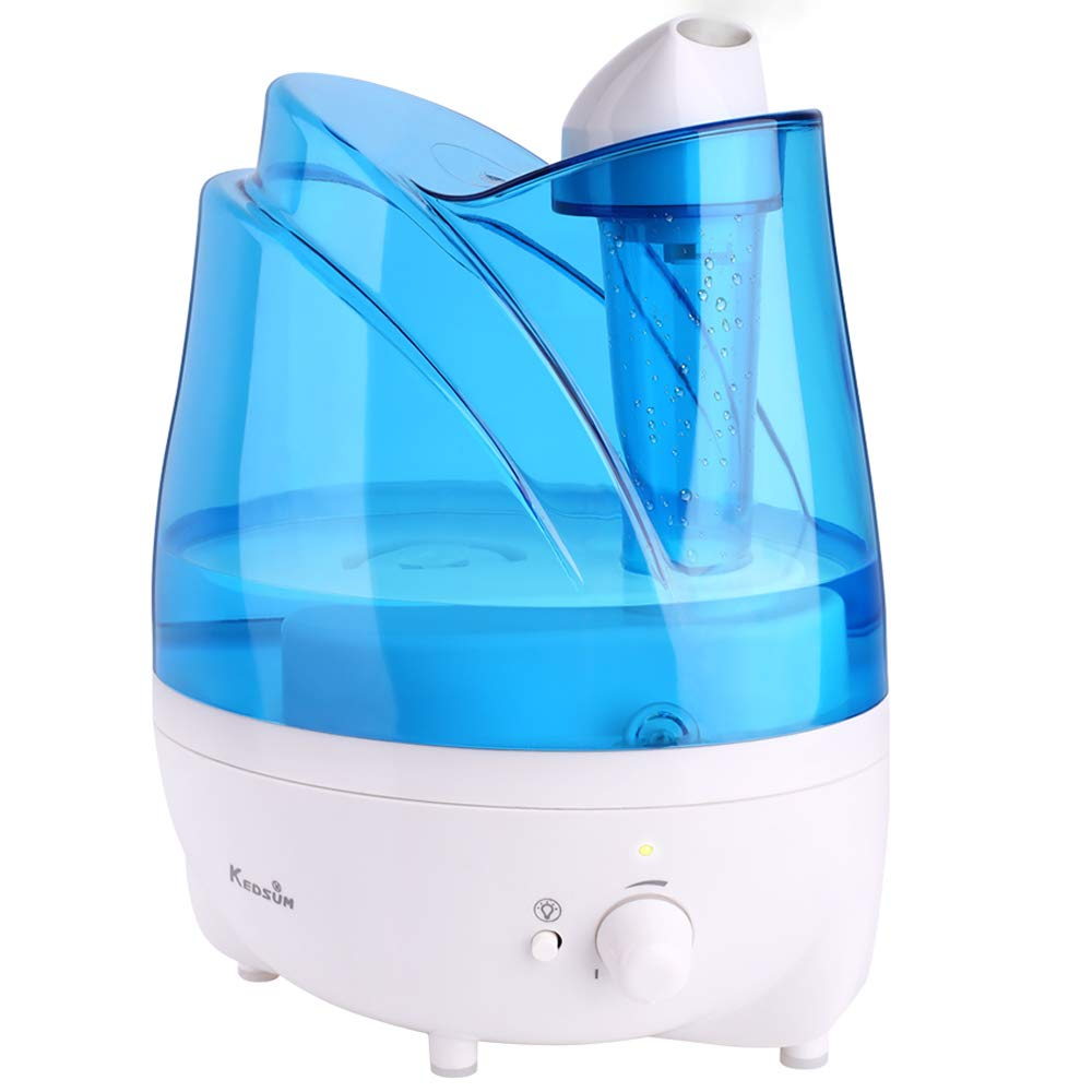 KEDSUM Ultrasonic Cool Mist Humidifiers,2L Ultrasonic Humidifier with Essential Oil Tray, Night Light Function, Waterless Auto Shut-Off,Whisper Quite, Adjustable Mist Dial Knob Control