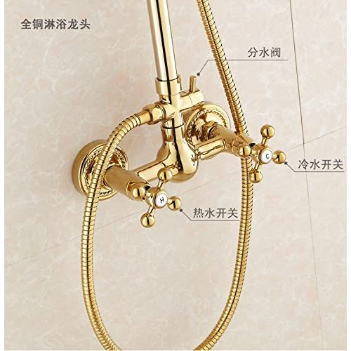 SAEKJJ-European Copper Golden Shower Set Adjustable Shower Faucet Bathroom faucet low-cost