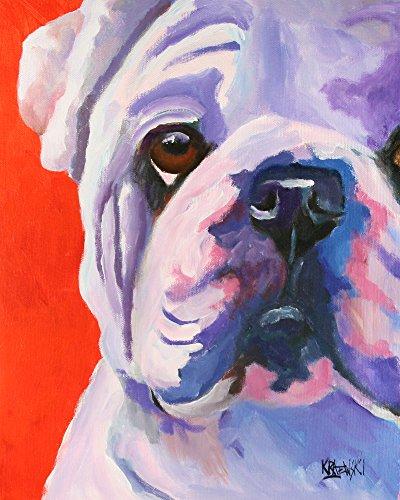 English Bulldog Dog Fine Art Print on 100% Cotton Watercolor ()