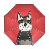 My Daily Schnauzer Dog Travel Umbrella Auto Open Close UV Protection Windproof Lightweight Umbrella