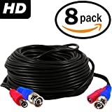 BNC cable 100ft camera power cord and video extension ventech cctv supply security wire ( 8 pack ) bnc-bnc connector 100 feet surveillance support all: Analog, hd, AHD, 720p, 960p, 960h, cvi, tvi