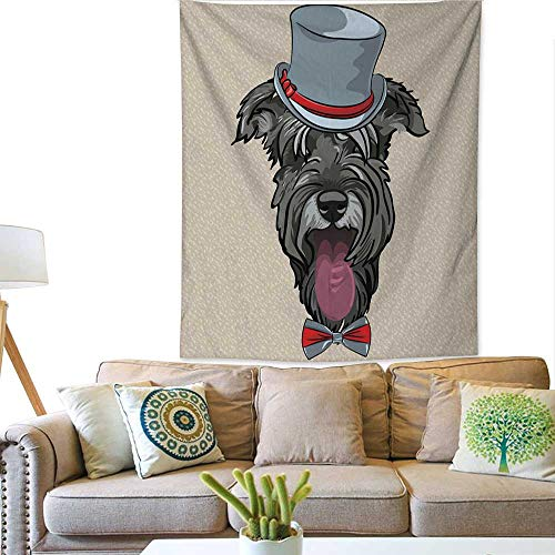 Anyangeight Art Tapestry Vector Funny Cartoon Hipster Dog Schnauzer 51W x 60L INCH