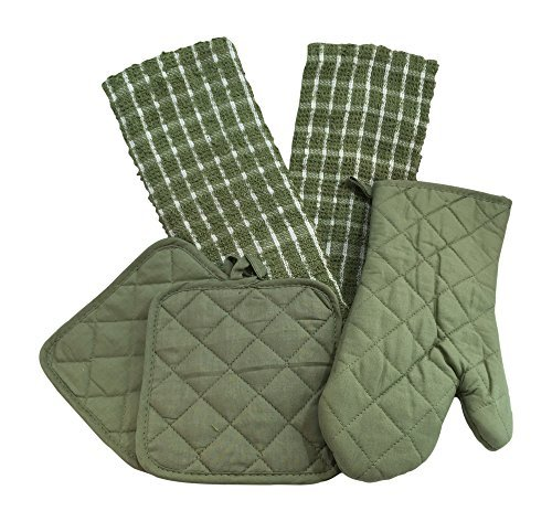 Kitchen Linen Set (Includes: one oven mitt, two pot holders and two dish towels) (Green & White) Pot Holder Set