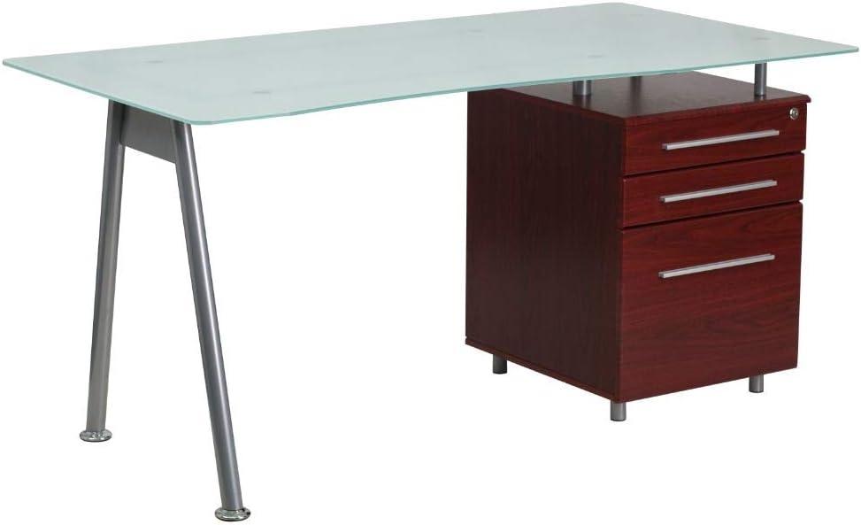Flash Furniture Glass Computer Desk with Mahogany Three Drawer Pedestal