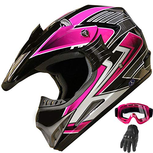 (Women's Motocross ATV Helmet Dirt Bike OffRoad Mountain Bike Helmet Goggles Gloves Combo Pink 189 (M) )