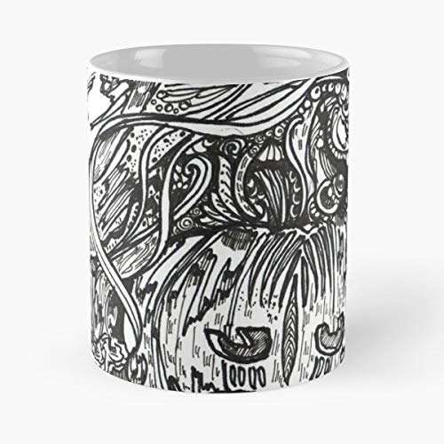 (Halloween Imagination Line Art Black And White - 11 Oz Coffee Mugs Unique Ceramic Novelty Cup, The Best Gift For)