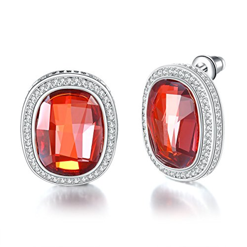 - Mother's Day Gifts Women Earrings PLATO H Created Sapphire Stud Earrings Fashion Jewelry Classic Earring Gift for Her, Indian Pink
