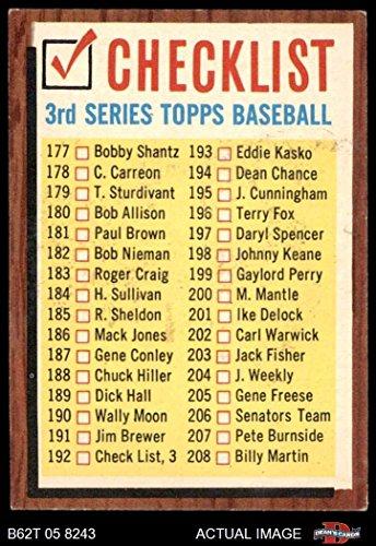 1962 Topps # 192 xCOM Checklist 3 (Baseball Card) (No Comma, says #192 Check List 3) Dean's Cards 5 - EX