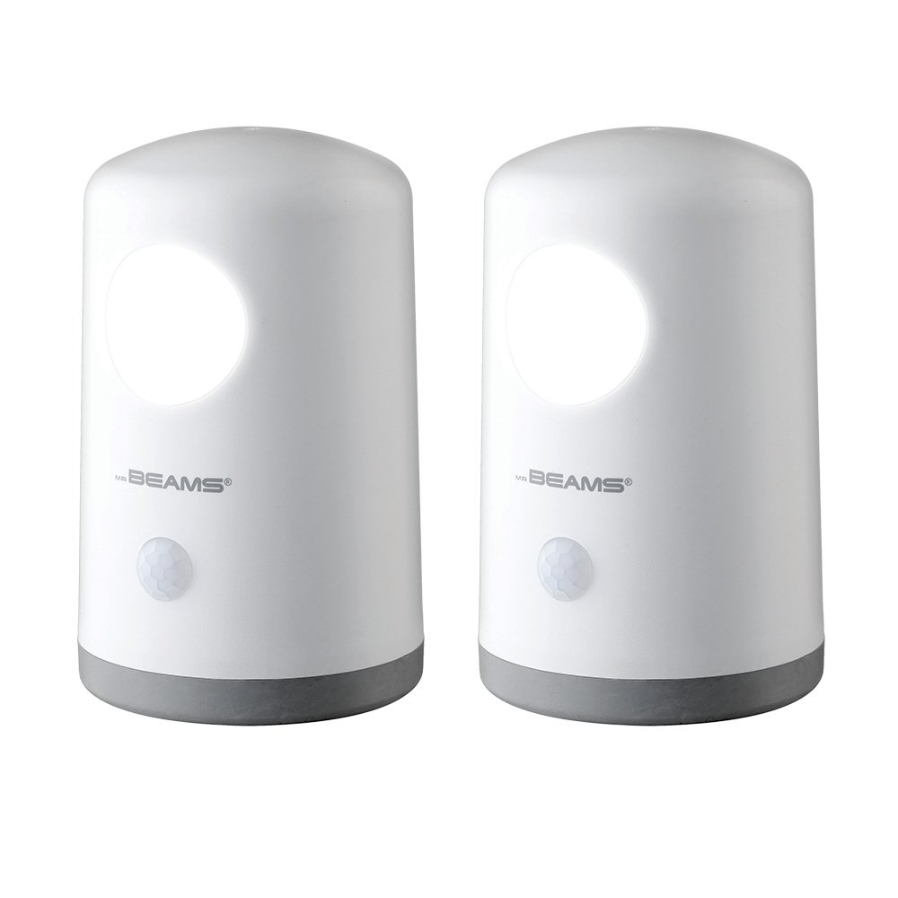 Mr. Beams MB750 Wireless Battery-Operated, Portable, Motion-Sensing 20 Lumen LED Nightlight, White, 2-Pack