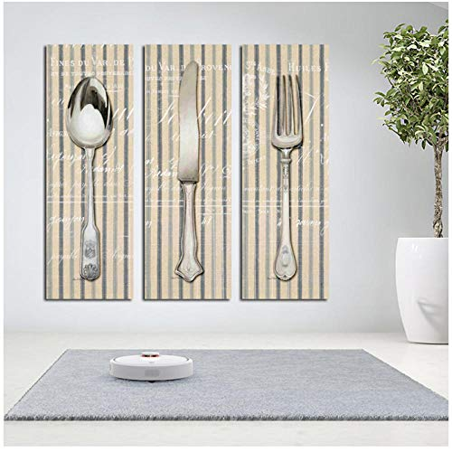 dayanzai 3 Pcs/Set Fork Knife Spoon Kitchen Tools Art Decoration Canvas Prints On Canvas Wall Poster Paintings 40X50Cmx3Pcs No Frame (Knife Fork And Spoon Metal Wall Art)
