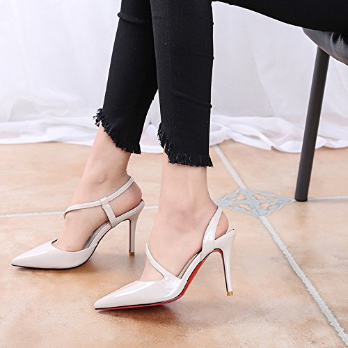 con basse con punta bianca estivo tacchi scarpe a 34 donna Temperamento RBB selvaggia da alti UT1wvq