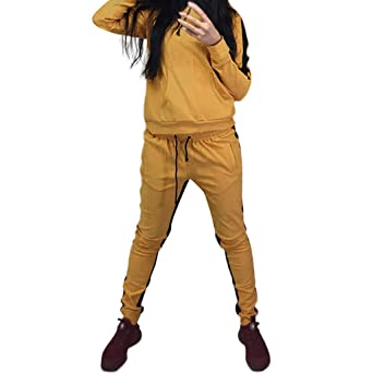Damen Sportanzug Jogginganzug Trainingsanzug Kapuzenpullover Kordelzug Hosen Set