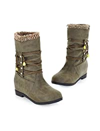 Susanny Mid Calf Boots Autumn Waterproof Military Slouchy Strappy Winter Women's Flat Snow Boots