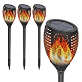 Solar Torch Lights Outdoor, OxyLED 4-Pack Waterproof Flickering Flames Solar Path Light Landscape Decoration Lighting Dusk to Dawn Auto On/Off Security Torches Light for Patio Pathway Driveway