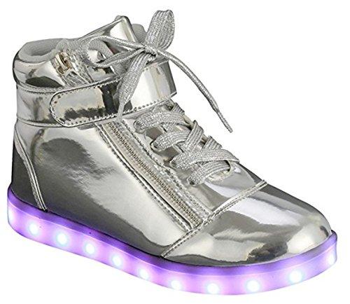 Le Donne High / Low Top Cuoio Dellunità Di Elaborazione Hanno Condotto Le Scarpe Sneaker Ricaricabili Usb_89 Di Modo Leggero Infiammanti Della Luce